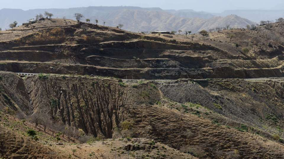 Dry land in Ethiopia due to deforestation
