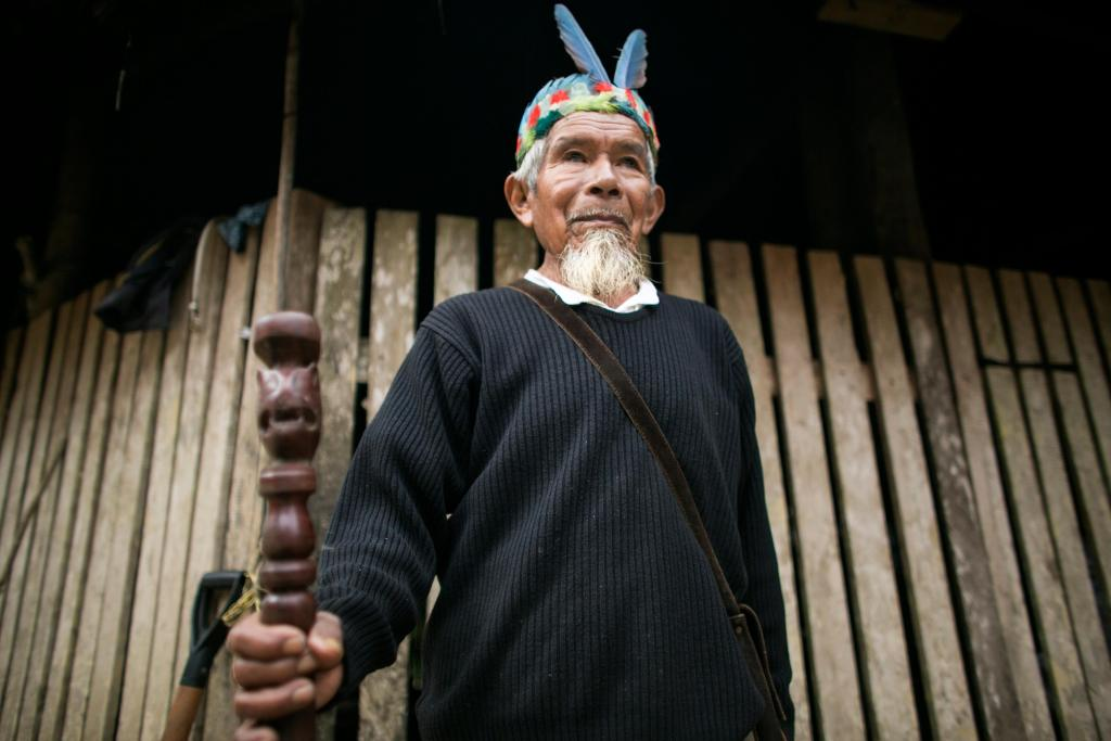 An elder of the Sarayaku tribe in the Amazon