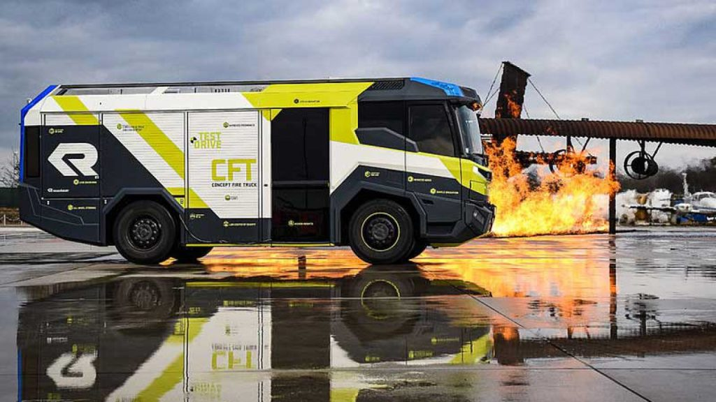 CFT electric fire truck from Rosenbauer.