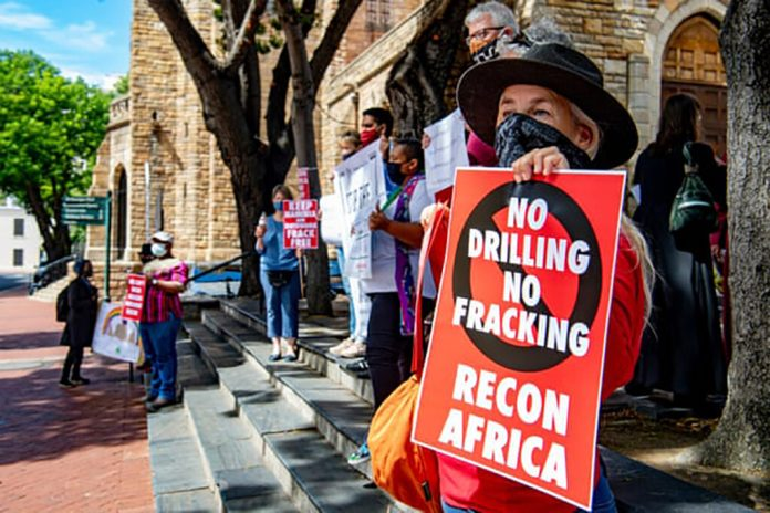 A silent protest against the drilling in the Kavango Basin on March 11 in Cape Town, South Africa