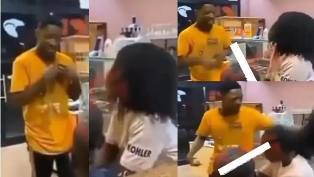 The moment man disrupts ex-girlfriend's date with another man and collects wig he bought for her (Video)