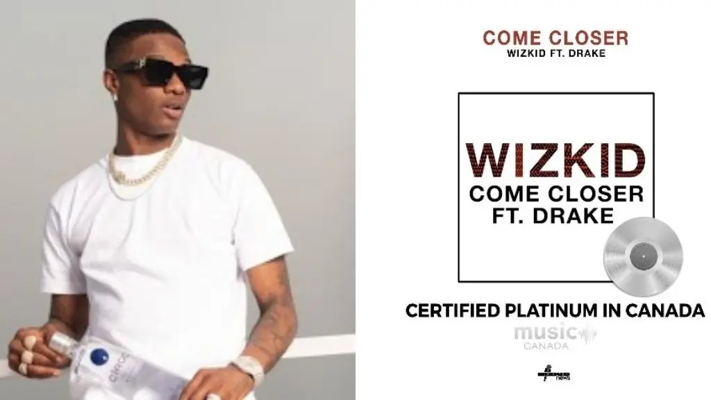 "Wizkid made history as ""Come Closer"" Ft. Drake goes Platinum in Canada"