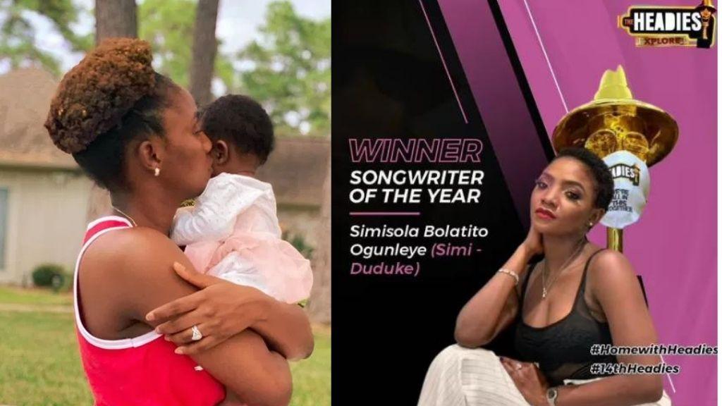 """Thank you for inspiring me"" – Simi dedicates Headies Award to her daughter, Deja"