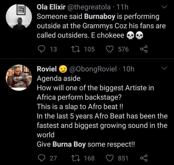 Burna name omitted from grammy 3