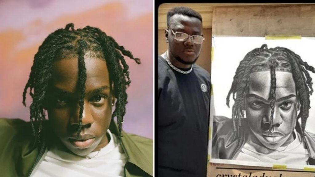 Singer Rema rewards artist who spent over 100 hours drawing a portrait of him