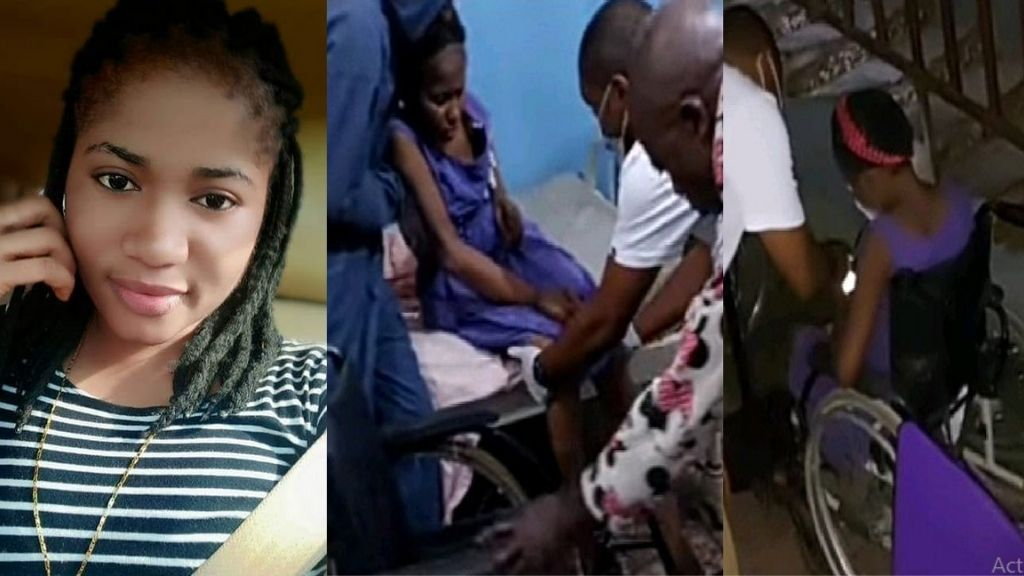 Comedian Ada Jesus spotted in a wheelchair receiving treatment at Onitsha [Photos]