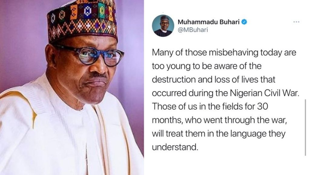"""BREAKING: Twitter deletes Buhari's tweet threatening to deal with  """"misbehaving Nigerians"""" who wants another civil war   Intel Region"""