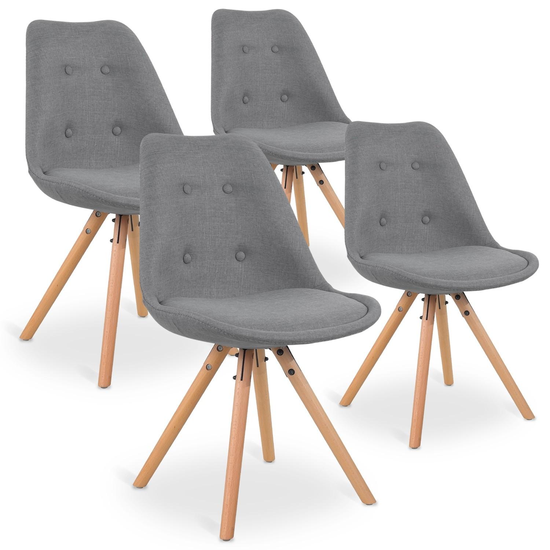 lot de 4 chaises scandinaves frida tissu gris