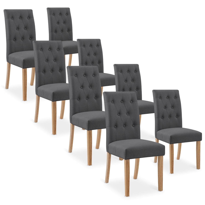 lot de 8 chaises capitonnees gaya tissu gris