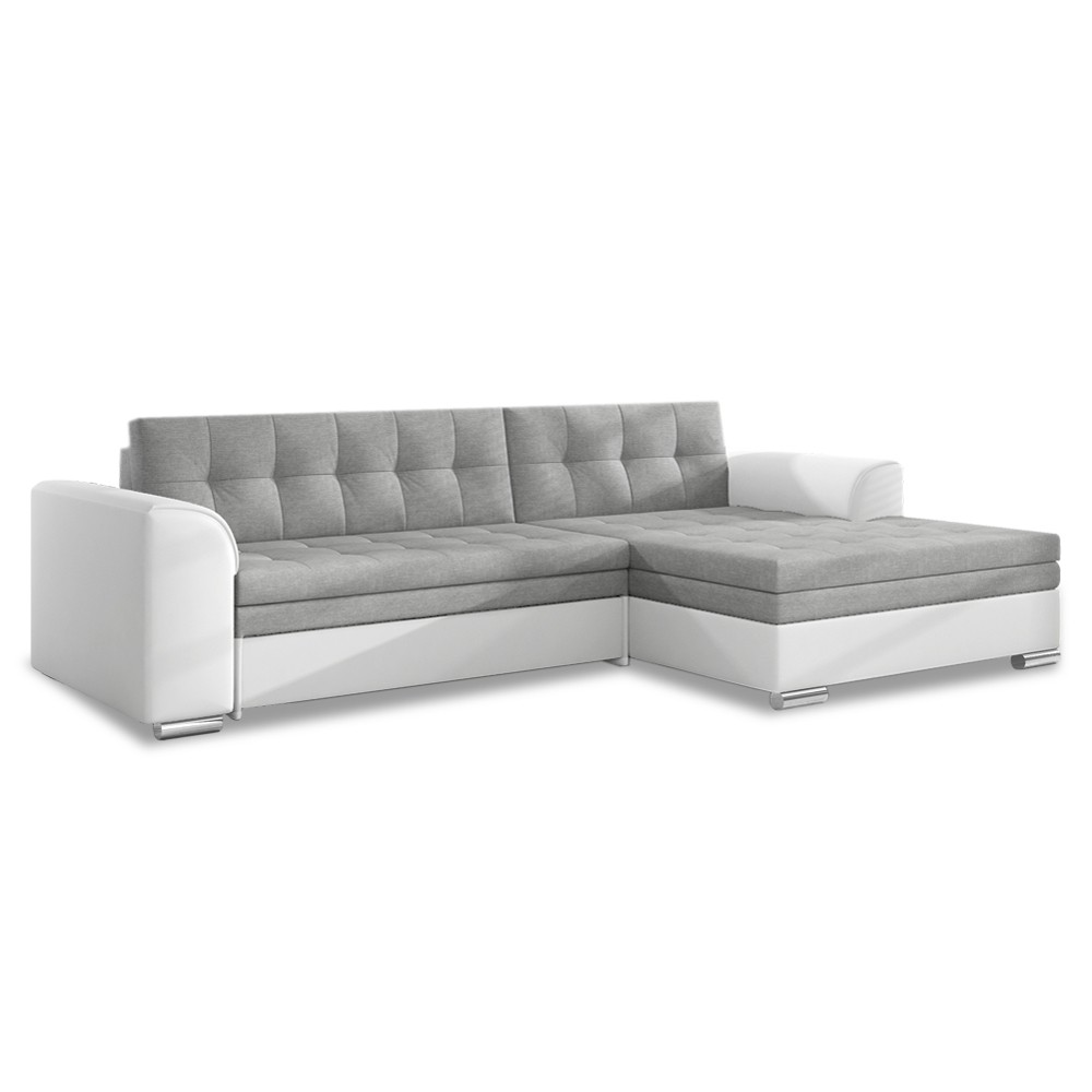 canape d angle droit convertible lima gris et blanc