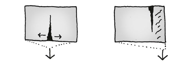 Grietas en muros y paredes. Grietas en caso de asientos puntuales.