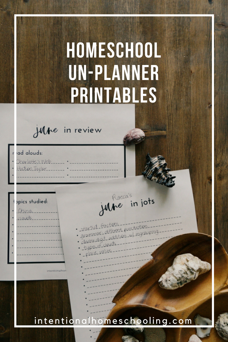 Free Printable Homeschool un-Planner Monthly Records Sheets