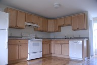 Full kitchen with stove and dishwasher.