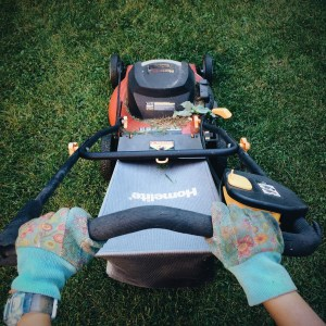 A First-person View Of Someone Using A Lawn-mower