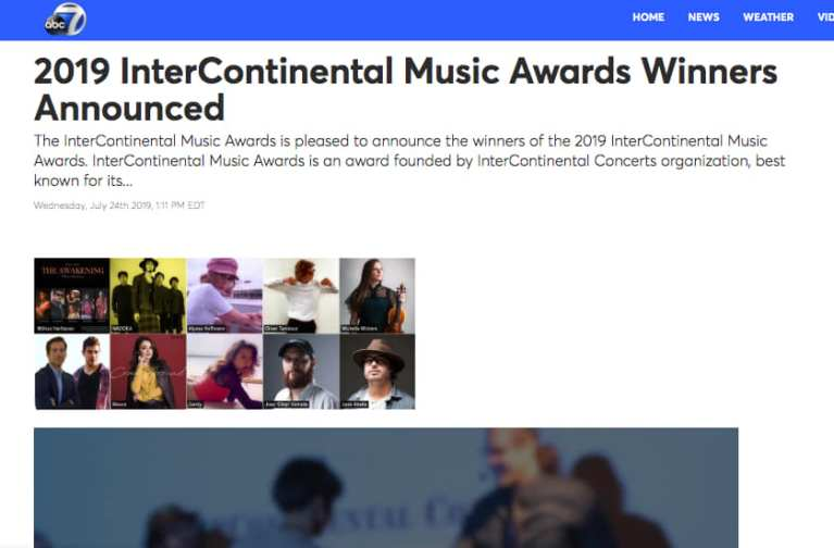 InterContinental Music Awards - announcement in abc 7 news