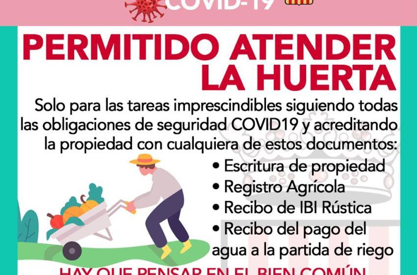 El Ayuntamiento de Buñol comunica que está permitido atender la huerta
