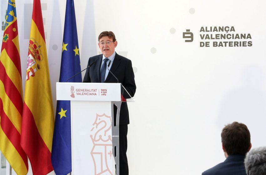 Ximo Puig destaca que la Alianza Valenciana de Baterías impulsará un centro de investigación y una planta de producción de baterías que permitirán la transición ecológica y una movilidad sostenible