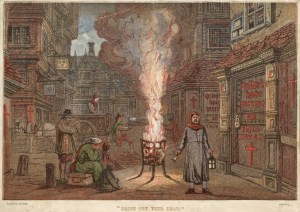 Circa 1666, A burning brazier fills the street with smoke while a bellringer calls for people to bring out their dead, during the Great Plague of 1664-1666. Behind him, two men load a corpse onto a waiting cart. Red crosses are painted on the doors of the houses, wit (Photo by Hulton Archive/Getty Images)