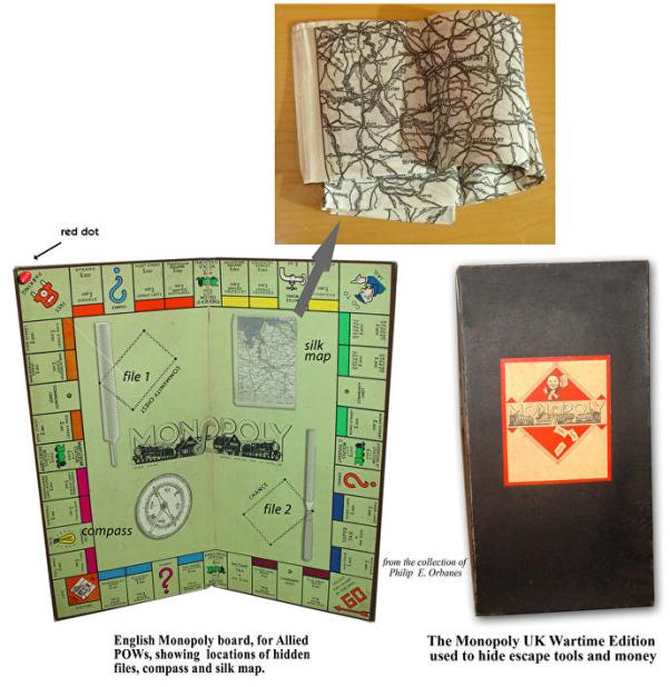 A mockup of what Monopoly boards sent to WWII POW camps might have looked like.