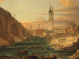 "Photograph of the painting ""The Demolition of Old London Bridge"""