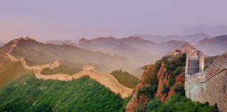 Photograph of the Great Wall of China at Sunset