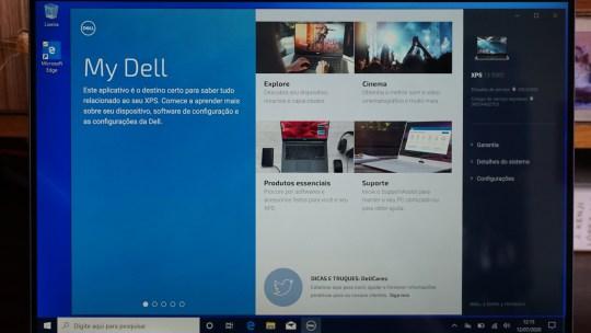 Dell XPS 13 2020: tela do app My Dell
