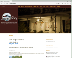 City of Jefferson Website Homepage client of Interfaith Networking