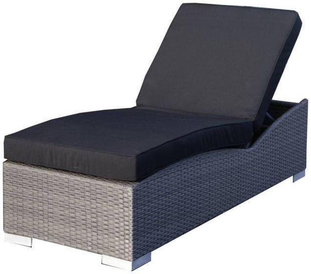 chaise longue de jardin resine tressee prague gris