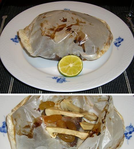 あま鯛と松茸の紙包み焼