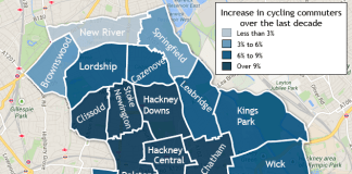 Choropleth map of cycling in Hackney wards