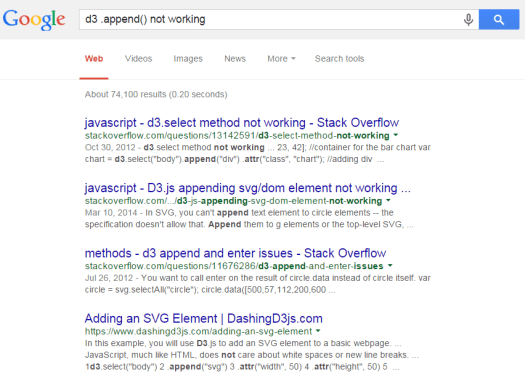 "Google search ""d3.append() not working"""