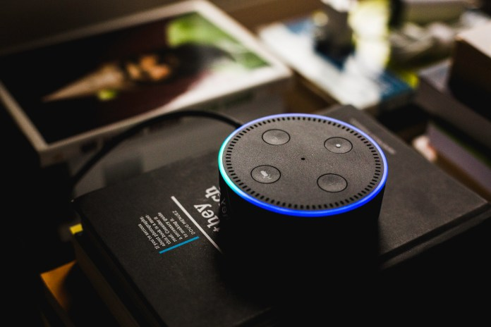 An Amazon Alexa - a well-known brand of voice assistant