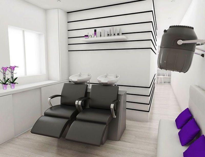 Dise o de locales peluquer a amelie for Disenos de espejos para peluqueria