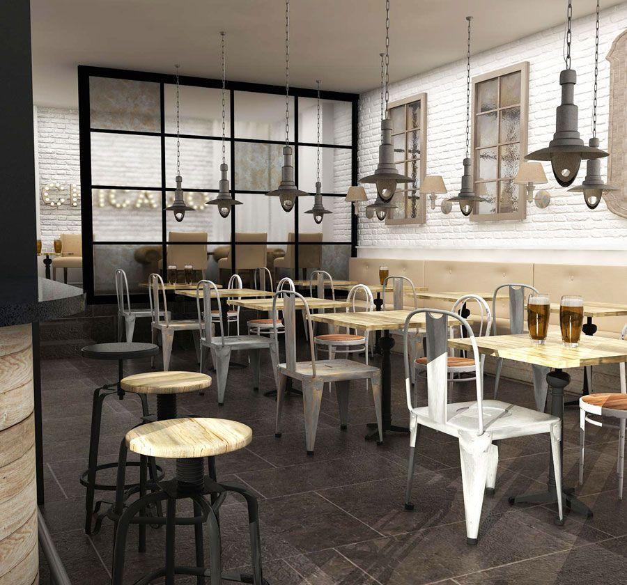Dise o de bares proyecto de estilo vintage industrial for Como hacer una mesa estilo industrial