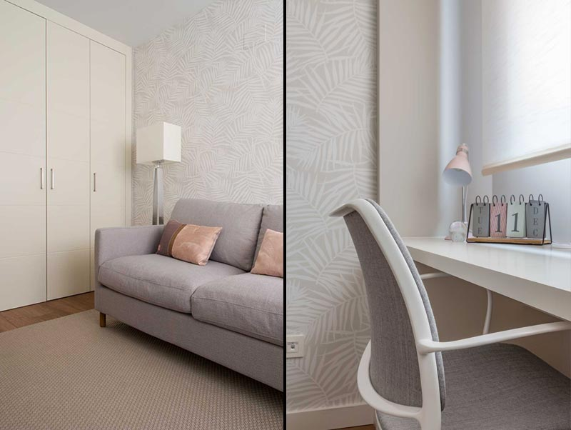 Amueblamiento de un despacho en tonos grises y rosas