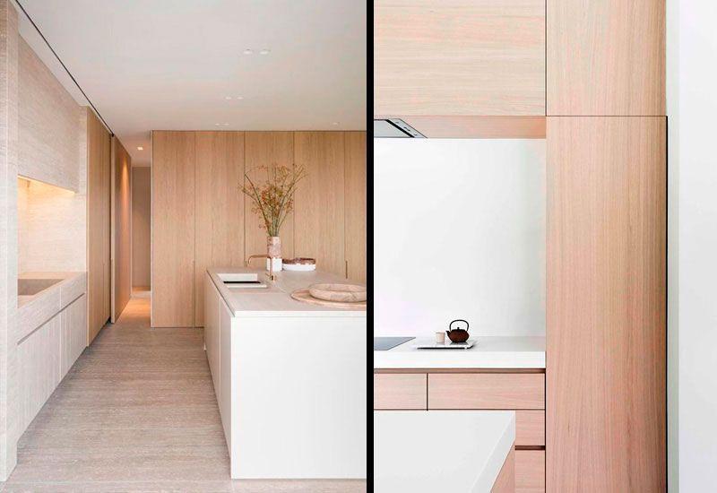 Cocinas blancas combinadas con madera