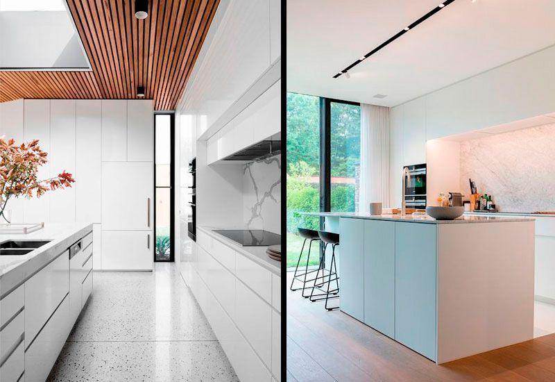 Cocinas minimalistas blancas