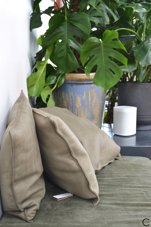 The Loft Amsterdam The Playing Circle August 2015 leather pillow cushion sofa plants green