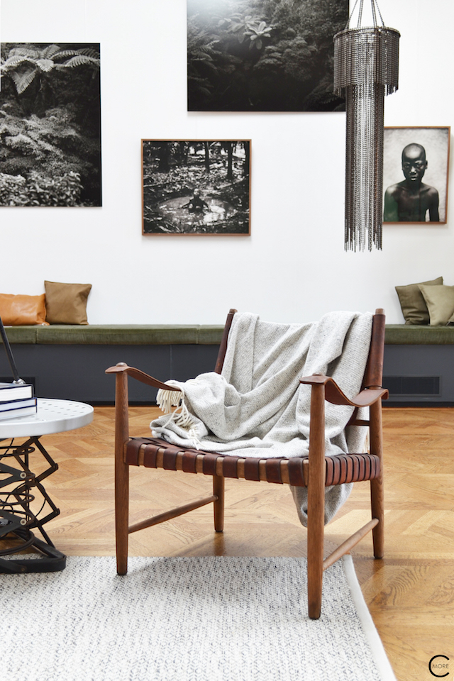 The Loft Amsterdam The Playing Circle August 2015  vintage chair wood plaid textile picture photowall black and white styling inspiration