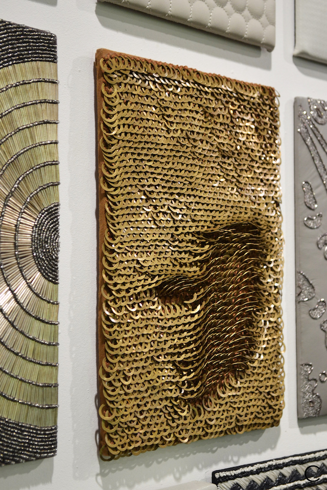 Gold paillette and white leather texture | Material Heaven | Fameed Hkalique London | visited with Modenus #LondonBlogtour #Designhounds | Luxury interior trend