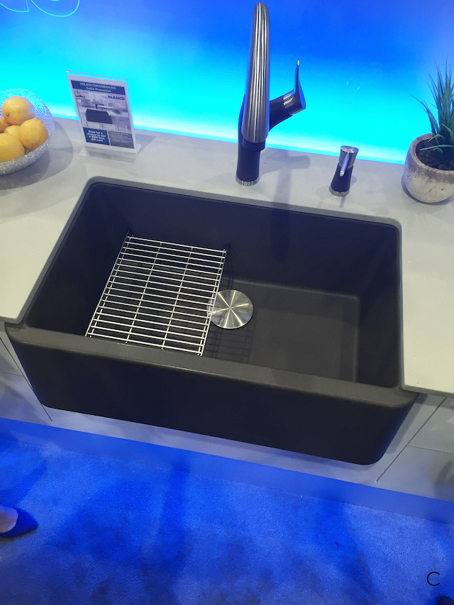 Blanco Silgranit | IKON sink | floating sink grit |Capflow Drain Cover| ARTONA faucet and soap dispenser | BlogtourKBIS 2016 | picture by C-More