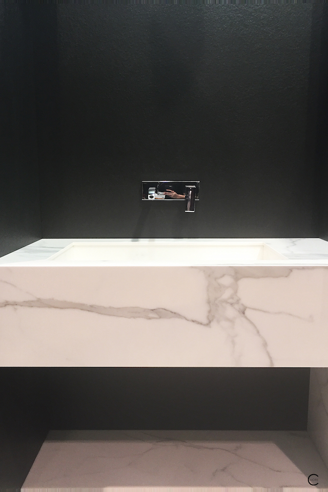 BlogtourKBIS 2016   Las vegas   Kitchen and bathroom trends   Marble trend   Classtone neolith minimal sink bathroom   picture by C-More