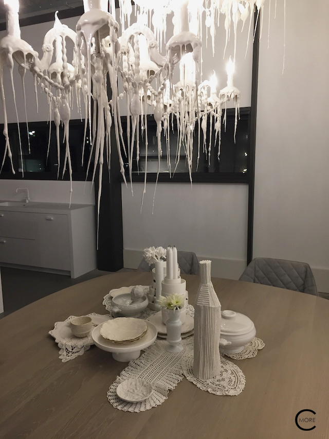 Beautiful white table styling at Piet Boon Studio Kitchens