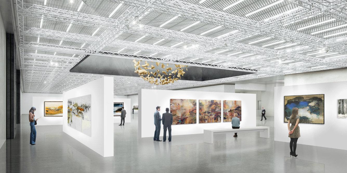 Una de las salas de exposición. Render, cortesía © Buro Ole Scheeren.