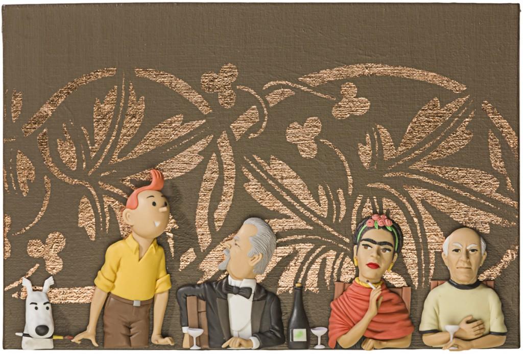 Obra de Gabriel Ortega en porcelanicrón. Tintin con Fernando Botero, Frida Kahlo y Pablo Picasso.