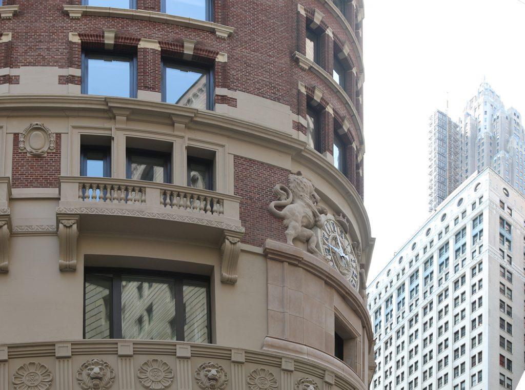 Detalle de la fachada del edificio que se preservó.