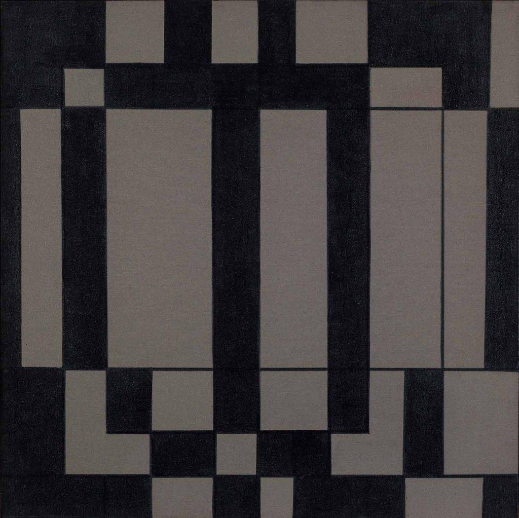 Botellas, de la serie Ingeniería de la visión. Acrílico sobre tela, 1963, 60 x 60 cm.