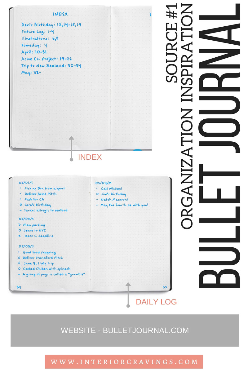 INTERIOR CRAVINGS search for organizational inspiration bullet journal