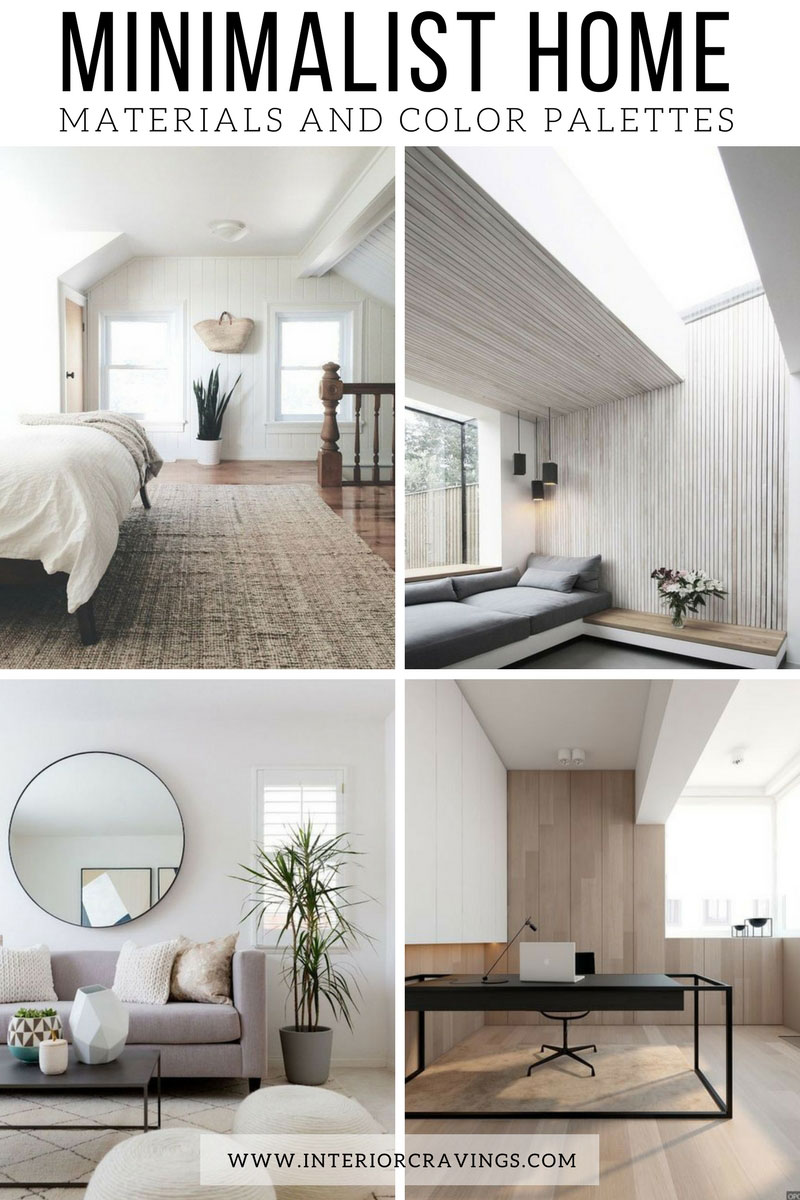 Minimalist home essentials materials and color palette for Interior design inspiration