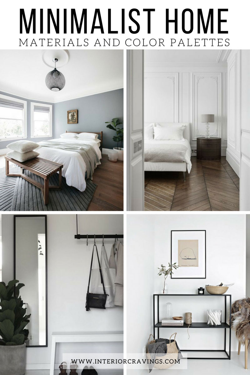Minimalist home essentials materials and color palette for Bedroom inspiration color palette